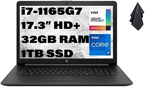 2021 Newest HP Flagship Business Laptop, 17.3″ HD+ Display, Intel Core i7-1165G7 Processor Up to 4.7 GHz, Intel Iris Xe Graphics, Webcam, HDMI, Jet Black, Win 10 + Oydisen Cloth (32GB RAM | 1TB SSD)