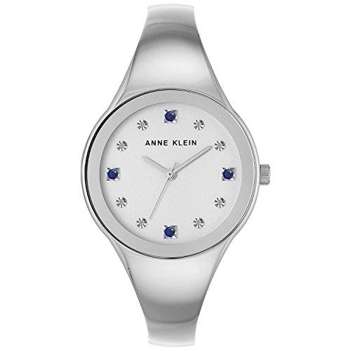Anne Kleinn Women's Diamond Accent Silver-Tone Bangle Bracelet Watch 34mm AK/2861SASV