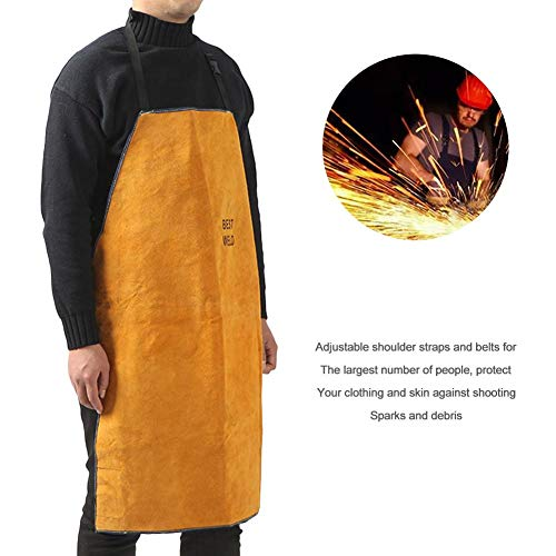 Cherry-Lee Leather Blacksmith Heavy Duty Flame Retardant Welding Safe Work Apron, Man Women Unisex Adjustable Work Shop Protective Clothing - Yellow
