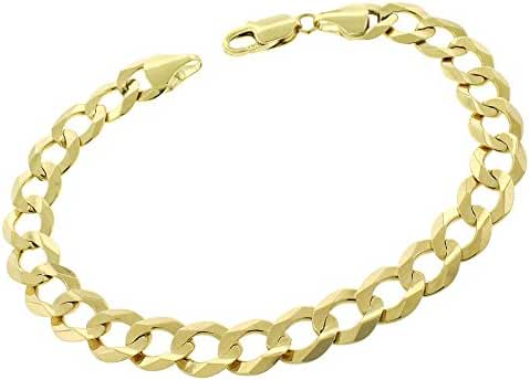 14k Yellow Gold Mens Womens 9.5mm Solid Cuban Curb Link Bracelet Chain 9