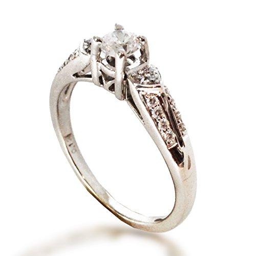 Semi Mount Antique Style Ring (.20 CTW DIAMOND SEMI MOUNT ENGAGEMENT RING FILIGREE MILGRAIN ANTIQUE STYLE WITH CZ CENTER 14K WHITE GOLD)