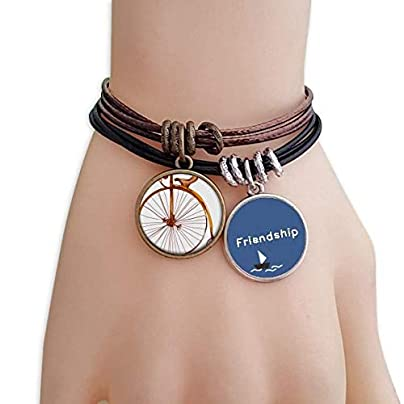 YMNW Old Fashioned Bicycle High Wheeler Britain Friendship Bracelet Leather Rope Wristband Couple Set Estimated Price -