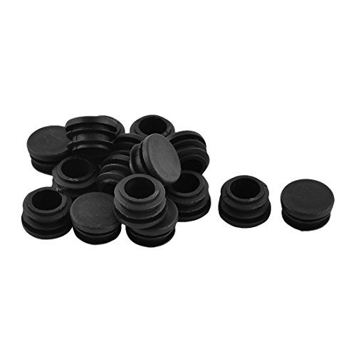 Antrader Furniture Foot Table Chair Legs Blanking End Plastic Round Ribbed Tube Insert Plug Cap Covers Protector Black 12-32mm 30pcs (22mm)