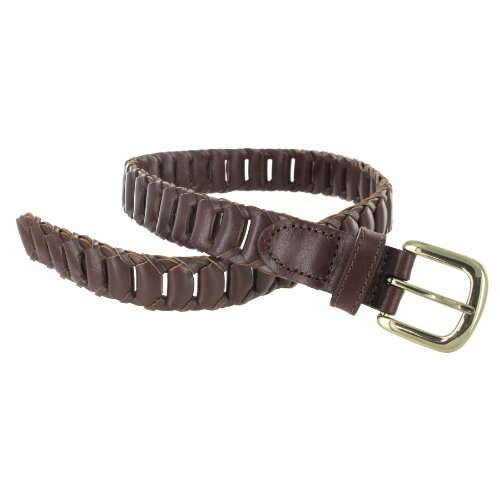 Youth Genuine Leather Brown Link Belt with Gold Buckle 26