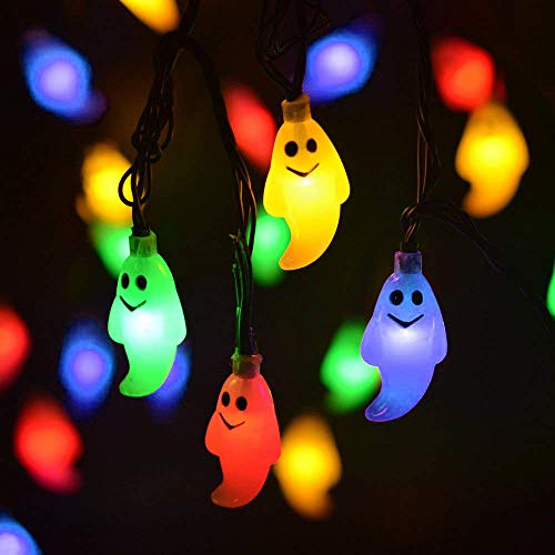 LEVIITEC Solar Halloween Decorations String Lights, 30 LED Waterproof Cute Ghost LED Holiday Lights for Outdoor Decor, 8 Modes Steady/Flickering Lights [Light Sensor] 19.7ft Multicolor ()