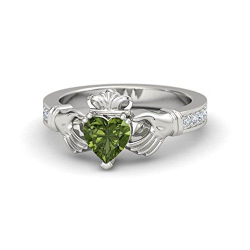 3/4 Ct Peridot & White CZ Diamond Engagement Claddagh Ring in 14k White Gold Finish