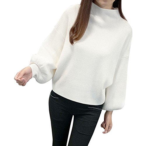 Birdfly Ladies' Pure Color Half-High Neck Loose Lantern Sleeve Sweater for Women (White)