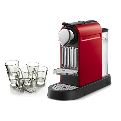 Nespresso Citiz Fire Engine Red Automatic Single Serve Espresso Maker with Free Set of 6 Espresso Glasses