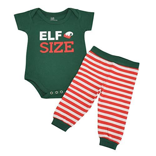 Unique Baby Unisex 1st Christmas Onesie Outfit Elf Size Layette Set (6 Mo) -