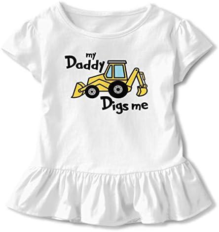 ZP-CCYF My Daddy Digs Me Toddler Baby Girl Ruffle Short Sleeve T-Shirt Cute Cotton T Shirts