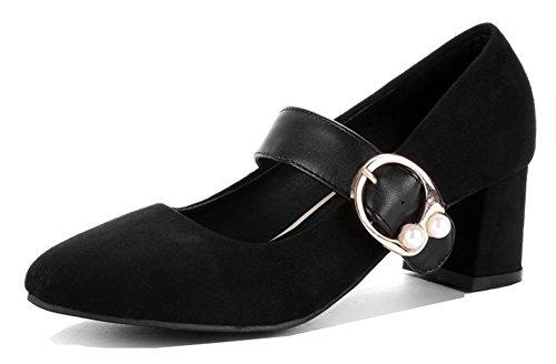 Aisun Dames Elegante Chic Laag Uitgesneden Dikke Hakken Vierkante Teen Enkelband Pumps Schoenen Zwart