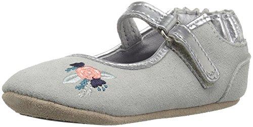 Robeez Girls' Catherine White-K Crib Shoe, Blossom Ballet Grey, 9-12 - Ballet Blossom