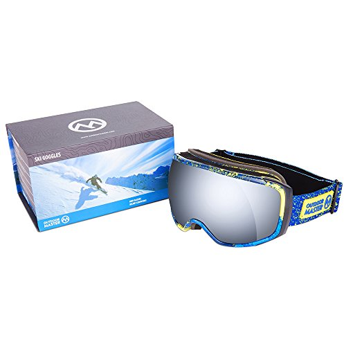41xG7%2Bo8PlL - OutdoorMaster Ski Goggles PRO X - Ski & Snowboard Goggles with TruVis 2X Anti-Fog Lens - for Men, Women & Youth - Helmet Compatible