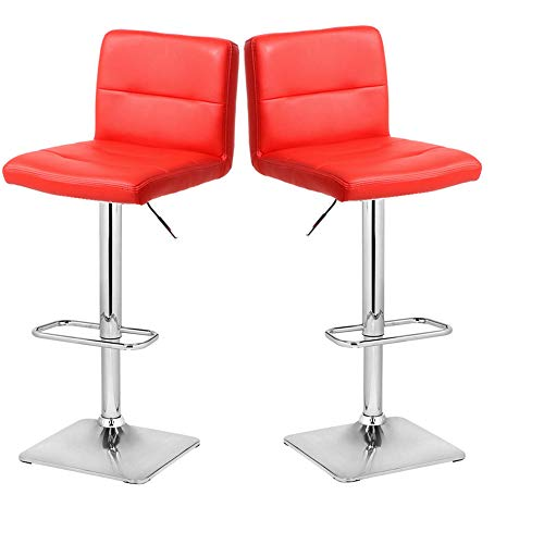 Modern Swivel Barstools with Chrome Base, Adjustable Counter Height Bar Stool, Red PU Leather Padded with Back, Set of 2, Hold Up to 400lbs