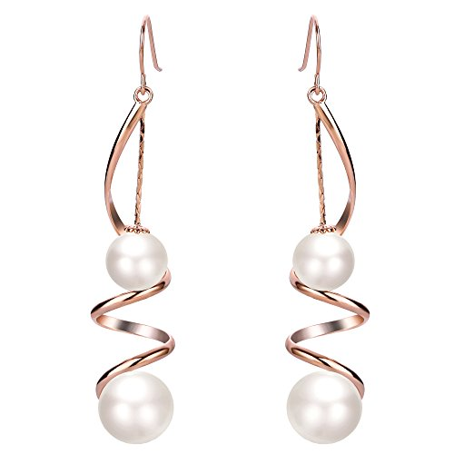 Rose Twisted Earrings - EleQueen Women's Ivory Color Simulated Pearl Long Wire Swirl Spiral Hook Drop Earrings For Wedding or Prom Rose-Gold-Tone