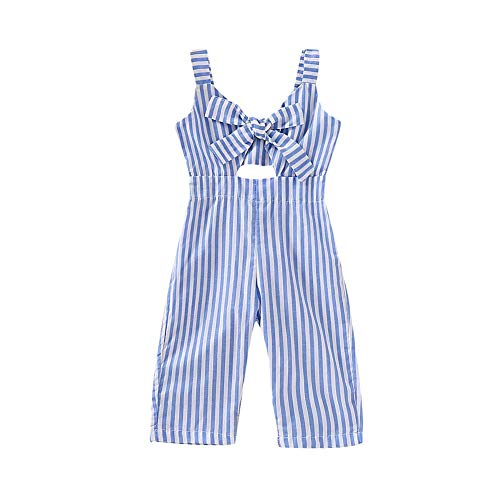 PigMaMa Toddler Baby Girl Clothes Sleeveless Romper Stripe Big Bow Kids Strap Jumpsuit Trousers 18-24 Months Blue ()