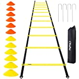 Ohuhu Speed Training Ladder Agility Training Set - 12 Rung 20Ft Agility Ladder and 12 Field Cones,4 Steel Stakes & Carrying Bag,Footwork Equipment for Soccer Football Boxing Drills