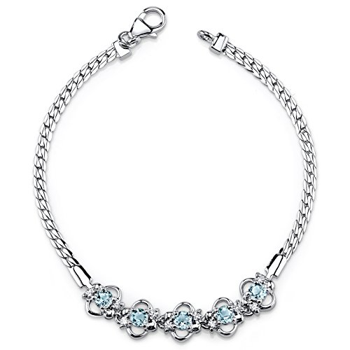 (Swiss Blue Topaz Bracelet Sterling Silver CZ Accent)