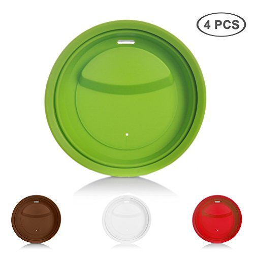 4 Pack Silicone Cup Lids, Jewelvwatchro Food Grade Silicone Cup Lids, Coffee Mug Lid BPA Free, Anti-dust Cup Mug Cover Replacement Lids [Red Green White Coffee] ()