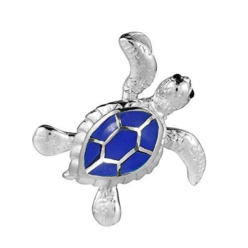 (AeraVida Sea Journey Swimming Turtle Simulated Blue Lapis-Lazuli .925 Sterling Silver Pendant)