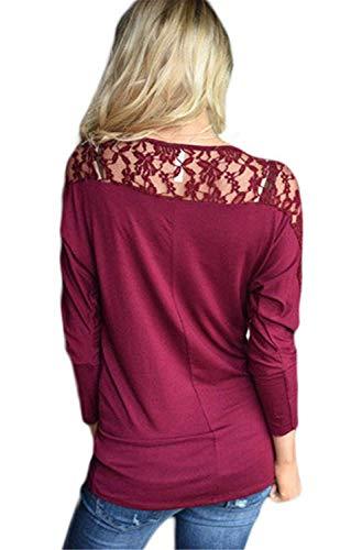 Hueco Otoño Rot Camiseta Elegante Señoras Redondo Manga Blusas Mujeres Suelta Cuello Larga Casuales Pullover Tops Encaje Moda Camisa xYwwq0aT