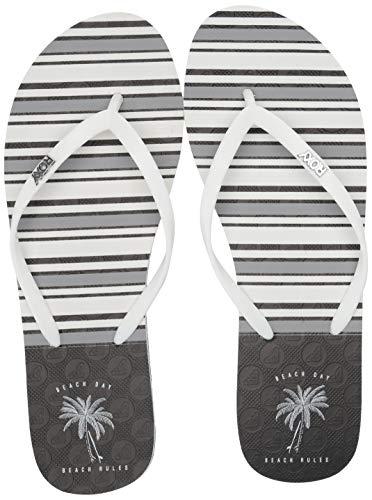 Roxy Women's Viva Stamp Flip Flop Sandal, Black/White Print, 11 M US