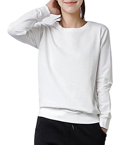 LemonGirl Mujeres La moda de manga larga Tops Blusa sudadera con capucha Hooded pullover White