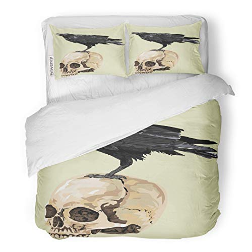 Tarolo Bedding Duvet Cover Set Animal Raven Sitting on Human Skull High Detailed Baltimore Bird Black Page 3 Piece Queen 90