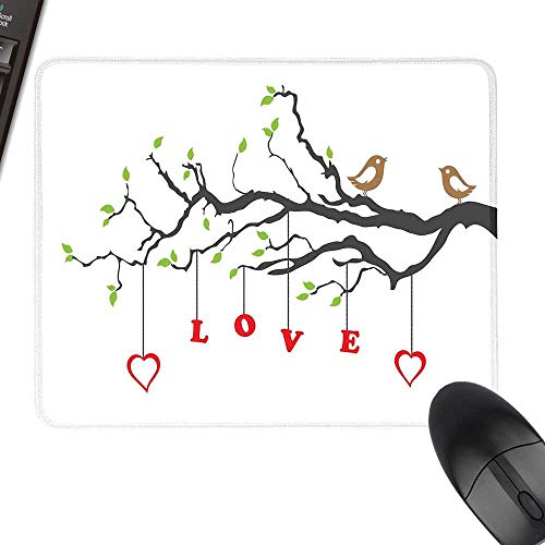 Adoration Quilts - Love Desk Pad, Office Desk Mat Two Birds Sitting on a Branch Affection Adoration Illustration with Nature Inspiration with Stitched Edges 11.8