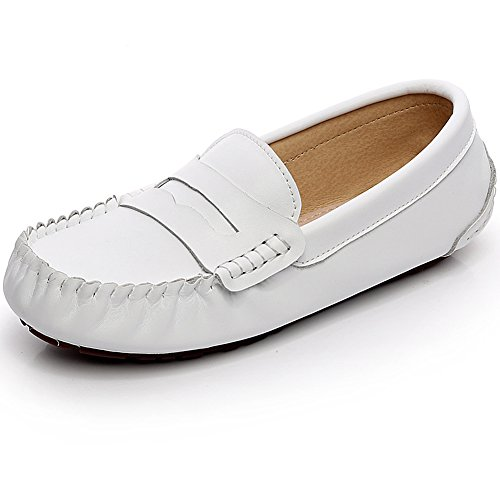 Leather 9923 Toe Size Mens Penny White US7 Comfort Loafers Shoes Summer Wide rismart Big Boat THnCO