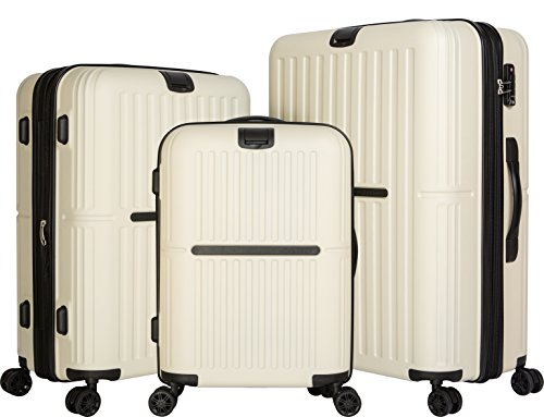 cheergo RE17-03 ABS Material PC Hardside 3 Piece Set Luggage 20 24 28 Spinner White by cheergo