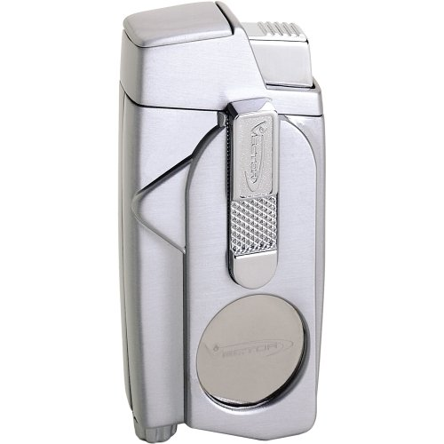 Vector XCaliber Dual-Torch Flame Cigar Cutter Lighter Gunmetal Satin