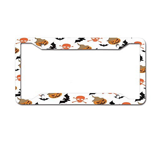 Mrsangelalouise Halloween Pumpkin Bat Skull Cartoon Painting License Plate Frame Car tag Aluminum Car Licence Plate Cover for US Standard 4 Holes Screws -
