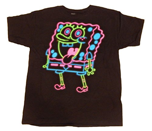 Spongebob Squarepants Men's Character T-Shirt Short Sleeve Tee Shirt (X-Large, Black Neon) ()