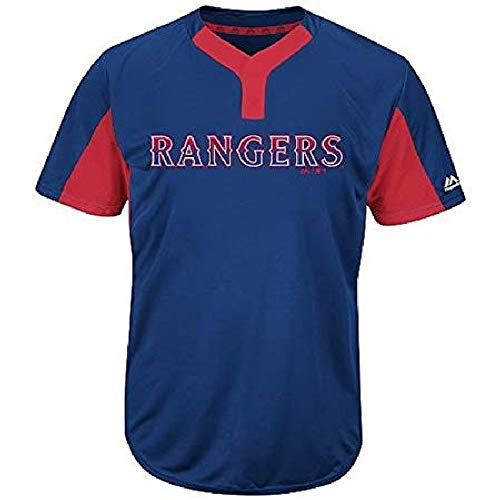 Majestic Blank Back Adult Large Texas Rangers 2-Button Placket Cool-Base MLB Licensed Jersey