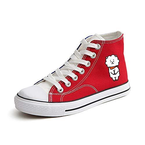 Alto Red14 Lona Negros Zapatos De Unisex Bts Tacón Casuales qnxwa806TR