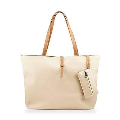 GEARONIC TM Korean Lady Women PU Leather Shoulder Handbag Shoulder Bag Beige