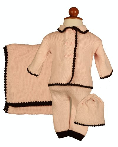Girl's Pink Double Breasted 4 Piece Sweater Set with Brown Trim