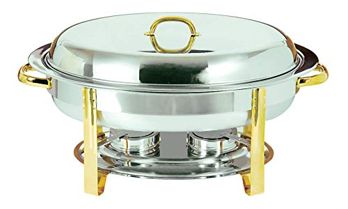Update International (DC-3) 6 Qt Stainless Steel Oval Gold-Accented -