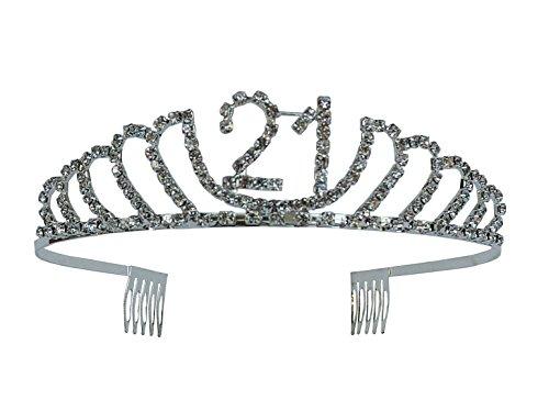 Happy Birthday Rhinestone Tiara - Premium Quality Metal Birthday Accessory (21st Birthday)
