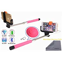 Wonbsdom Extendable Cable Control Built-in Remote Self-portrait Stick Monopod-Pink[No Bluetooth Matching & Battery Free]with Adjustable Phone Holder for Smartphones iPhone6 5 5s 5c 4s 4 Samsung Galaxy S5 S4 S3 Note4 3 2 Sony HTC,Nokia,etc.