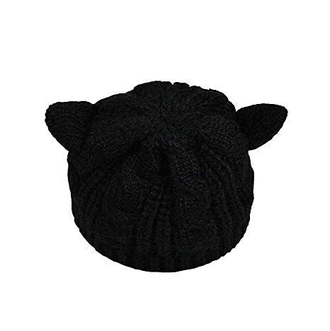 nalmatoionme Lovely mujer orejas de gato estilo cálido de lana Gorros cap (negro): Amazon.es: Hogar