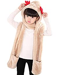 Baby Hat Scarf Gloves Animal Hats Fleece Winter Cap Baby Earflap Hood Scarf for Kids Toddler Boys Girls