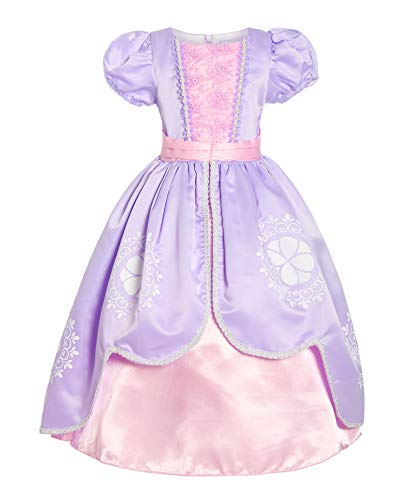 ReliBeauty Girls Short Sleeve Sofia Costume Princess Dress, Lilac, -