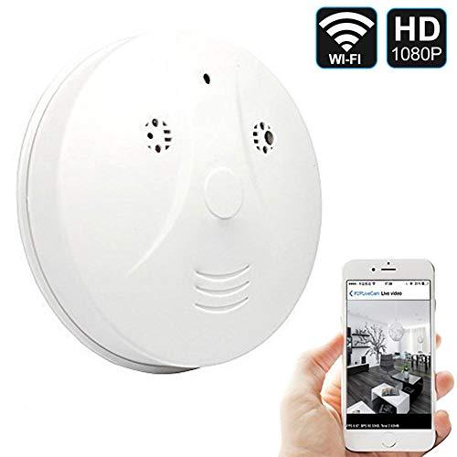 QUANDU Hidden Spy Camera WiFi Smoke Detector Camera DVR Mini Nanny Cam with Motion Detection for Home Security Surveillance Apps for iOS/Android/PC/Mac