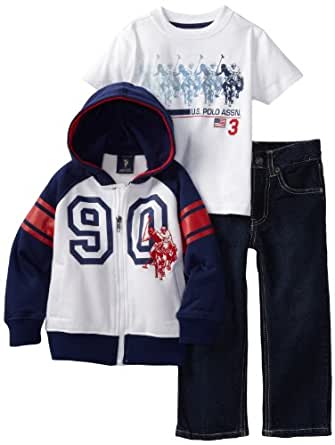 U.S. POLO ASSN. Little Boys' Jacket with Tee and Pant, Navy, 3T