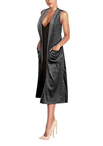 Womens Casual Sleeveless Open Front Drape Cardigan KSKW31130 Black XLarge