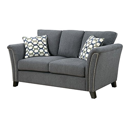 Furniture of America Shirley Fabric Loveseat in Gray