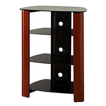 WE Furniture 35 Glass Media Storage Tower, Cherry
