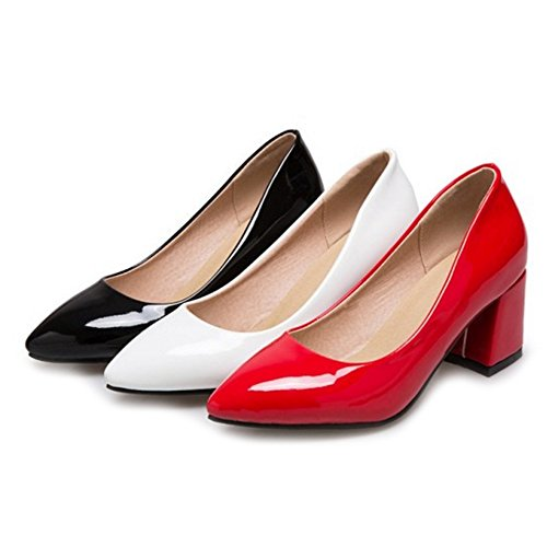 SJJH Chunky Heel Court Shoes with Large Size and 3-Colors Available Women Working Shoes White VFKXroagTU